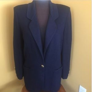 St. John Basics Blue Knit One Button Blazer